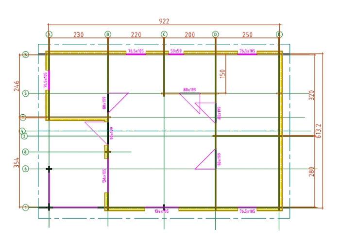 Plano casa de emaderra de 55 m