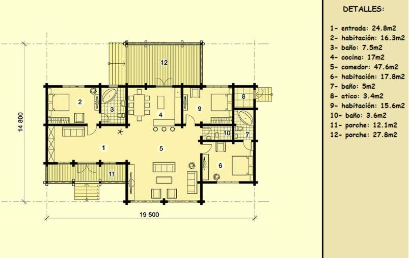 Casas de madera de 158 m2 + 40 m2 de terraza