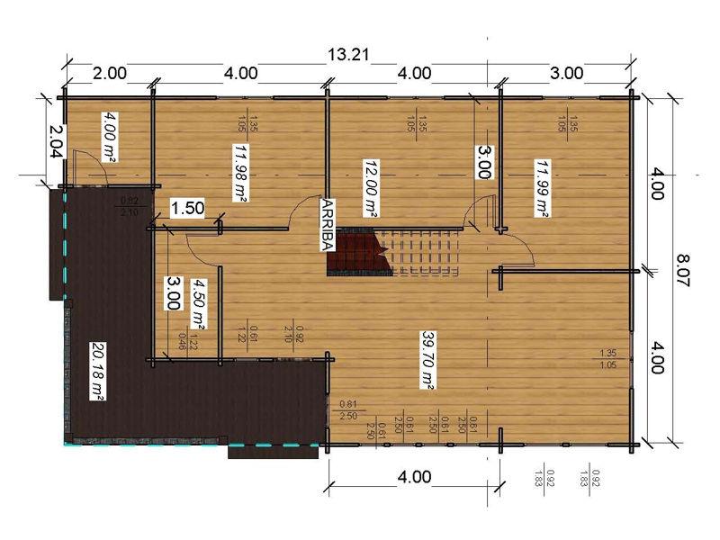Casas de madera londres de 133m2 20 m2 terraza - Planos casa madera ...
