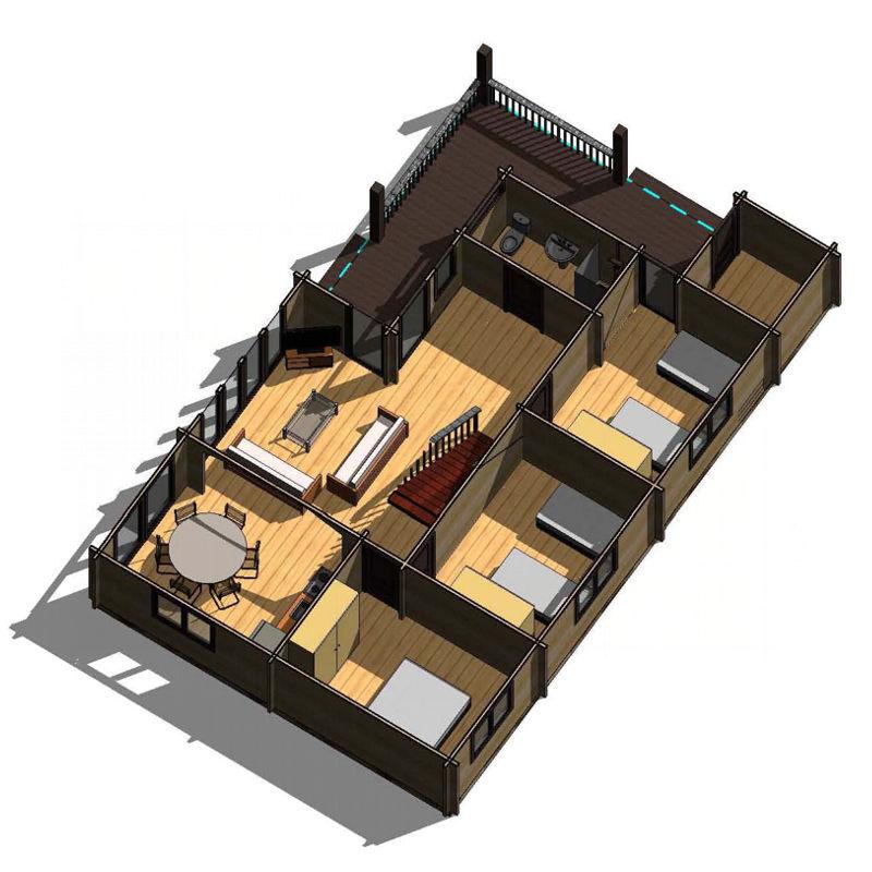 Casas de madera londres de 133m2 20 m2 terraza for Casas de madera para terrazas