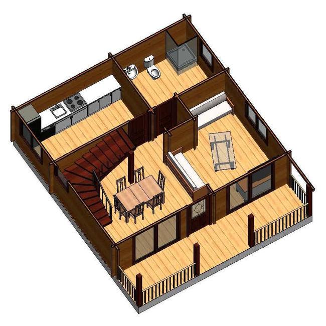 Casas de madera marta ii de 110 m2 - Planos casa madera ...