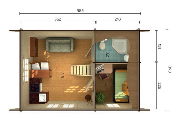 Casas de madera nicole de 21 7 m2 8 2 m2 - Planos casa madera ...