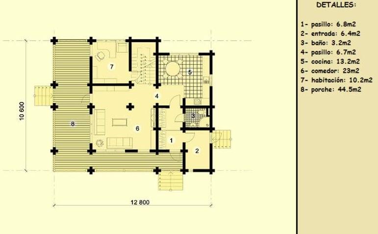 Casas de madera de 130 m2 + 58 m2 de terraza
