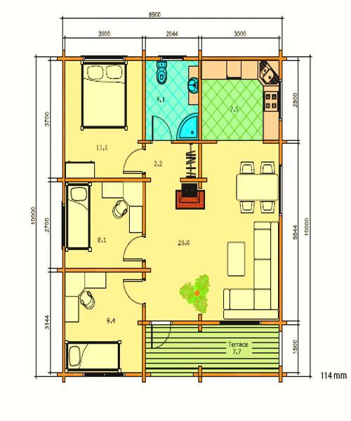Casas de Madera de 78 m2