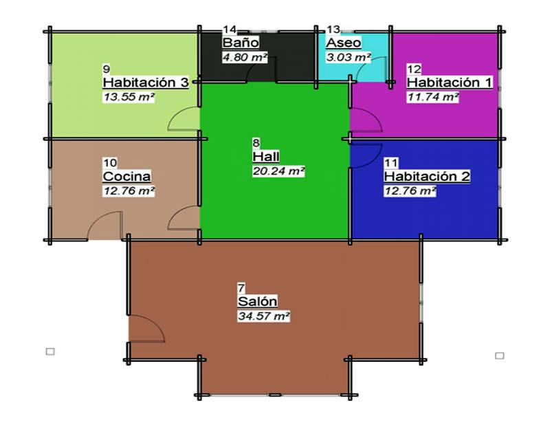 Casas de madera de 115 m2 + 16 m2 de pérgolas